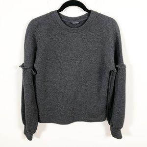 Club Monaco Dark gray Ruffle Sleeve Sweatshirt XS